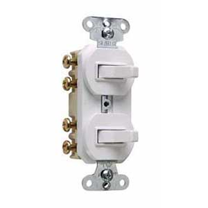Pass & Seymour 693-W 3-Way Double Combination Switch; 120/277 Volt AC, 15 Amp, 2-Pole, Non-Grounding, White