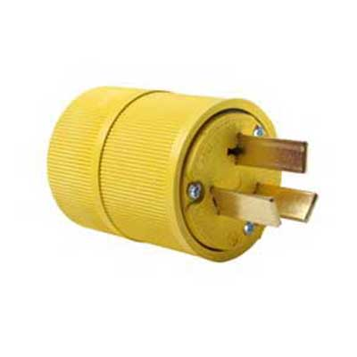 Pass & Seymour 1051 Gator Grip Plug; 50 Amp, 125/250 Volt, 3-Pole, 3-Wire, NEMA 10-50P, Yellow