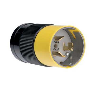Pass & Seymour CS8265 Turnlok® California Standard Style Polarized Grounding Locking Plug; 50 Amp, 250 Volt AC, 3-Pole, 4-Wire, Black/White