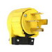 Pass & Seymour 5751-AN Specification Grade Power Outlet Non Grounding Miscellaneous Configurations Angle Plug; 50 Amp, 250 Volt,3-Pole, 4-Wire, NEMA 15-50P, Yellow