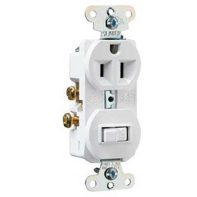 Pass & Seymour 691-W Combination Switch with Receptacle; 120/125 Volt, 15 Amp, 1-Pole, Grounding, White
