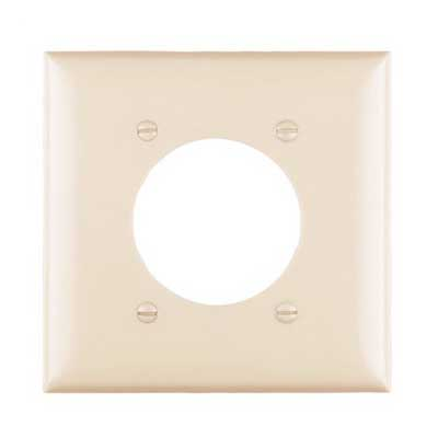 Pass & Seymour TP703-I tradeMaster® Standard Size 2-Gang Single Receptacle Plate; Wall Mount, Nylon, Ivory