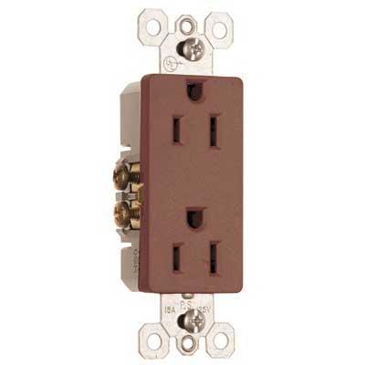 Pass & Seymour 885 Sierraplex® tradeMaster® Decorator Duplex Receptacle; Wall Mount, 125 Volt, 15 Amp, 2-Pole, 3-Wire, NEMA 5-15R, Brown