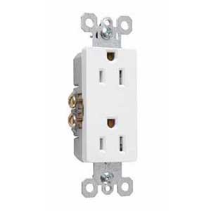 Pass & Seymour 885-W Sierraplex® tradeMaster® Decorator Duplex Receptacle; Wall Mount, 125 Volt, 15 Amp, 2-Pole, 3-Wire, NEMA 5-15R, White