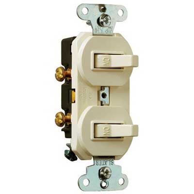 Pass & Seymour 690-WG Double Combination Switch; 120/277 Volt AC, 15 Amp, 1-Pole, Grounding, White
