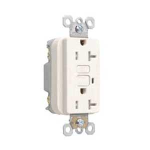 Pass & Seymour 2095TRSLA Specification Grade Tamper-Resistant GFCI Outlet Receptacle; Wallplate Mount, 125 Volt AC, 20 Amp, 2-Pole, NEMA 5-20R, Light Almond