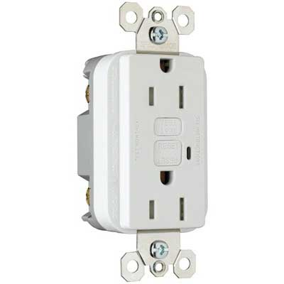 Pass & Seymour 1595-TRW tradeMaster® Specification Grade Tamper-Resistant Duplex Outlet GFCI Receptacle; Wallplate Mount, 125 Volt AC, 15 Amp, 2-Pole, NEMA 5-15R, White