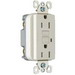 Pass & Seymour 1595-TRLA tradeMaster® Tamper-Resistant Decorator Specification Grade Duplex GFCI Receptacle; 125 Volt AC, 15 Amp, 2-Pole, NEMA 5-15R, Light Almond