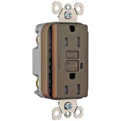 Pass & Seymour 1595-TR tradeMaster® Tamper-Resistant Decorator Specification Grade GFCI Receptacle; 125 Volt AC, 15 Amp, 2-Pole, NEMA 5-15R, Brown