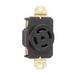 Pass & Seymour L2130-R Turnlok® Specification Grade Locking Single Receptacle; Flush Mount, 120/280 Volt AC, 30 Amp, 2-Pole, 3-Wire, NEMA L21-30R, Black