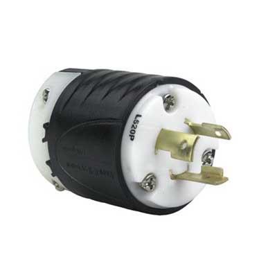 Pass & Seymour L520-P Turnlok® Polarized Grounding Specification Grade Locking Plug; 20 Amp, 125 Volt, 2-Pole, 3-Wire, NEMA L5-20P, Black/White
