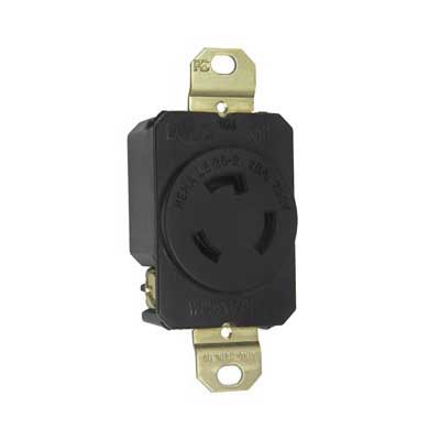Pass & Seymour L620-R Turnlok® Specification Grade Locking Single Receptacle; Flush Mount, 250 Volt AC, 20 Amp, 2-Pole, 3-Wire, NEMA L6-20R, Black