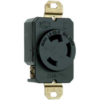 Pass & Seymour L630-R Turnlok® Specification Grade Locking Single Receptacle; Flush Mount, 250 Volt AC, 30 Amp, 2-Pole, 3-Wire, NEMA L6-30R, Black