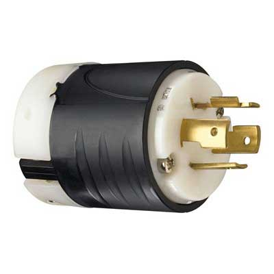 Pass & Seymour L1420-P Turnlok&reg Polarized Grounding Locking Plug 20 Amp  125/250 Volt AC  2-Pole  4-Wire  NEMA L14-20P  Black/White