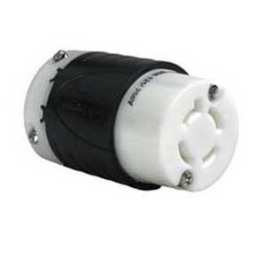 Pass & Seymour L1420-C Turnlok® Polarized Locking Connector; 20 Amp, 125/250 Volt AC, 2-Pole, 4-Wire, NEMA L1420, Black/White