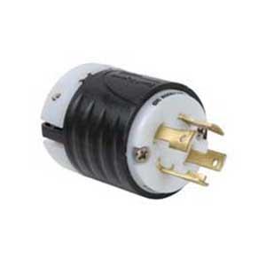 Pass & Seymour L1530-P Turnlok® Polarized Grounding Specification Grade Locking Plug; 30 Amp, 250 Volt AC, 2-Pole, 3-Wire, NEMA L15-30P, Black/White