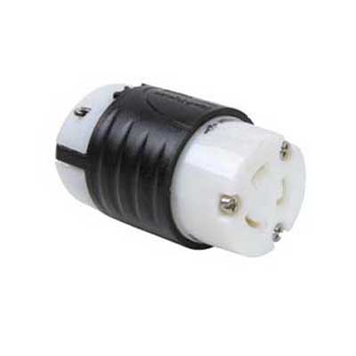 Pass & Seymour L620-C Turnlok® Grounding Locking Connector; 20 Amp, 250 Volt AC, 2-Pole, 3-Wire, NEMA L620R, Black/White