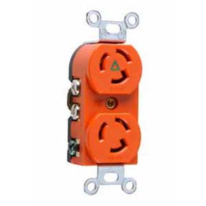 Pass & Seymour IG4700 Turnlok® Specification Grade Isolated Ground Locking Duplex Receptacle; Flush Mount, 125 Volt AC, 15 Amp, 2-Pole, 3-Wire, NEMA L5-15R, Orange