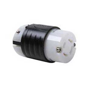 Pass & Seymour L1620-C Turnlok® Grounding Locking Connector; 20 Amp, 480 Volt AC, 2-Pole, 4-Wire, NEMA L620R, Black/White