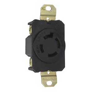 Pass & Seymour L1620-R Turnlok® Specification Grade Locking Single Receptacle; Flush Mount, 480 Volt AC, 20 Amp, 2-Pole, 3-Wire, NEMA L16-20R, Black