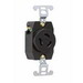 Pass & Seymour 4560 Turnlok® Specification Grade Locking Single Receptacle; Flush Mount, 250 Volt AC, 15 Amp, 2-Pole, 3-Wire, NEMA L6-15R, Black