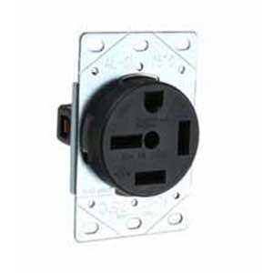 Pass & Seymour 5750 Specification Grade Straight Blade Power Receptacle; Flush Mount, 250 Volt, 50 Amp, 3-Pole, 4-Wire, NEMA 15-50R, Black