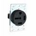 Pass & Seymour 5750 Specification Grade Straight Blade Power Receptacle; Flush Mount, 250 Volt, 50 Amp, 3-Pole, 4-Wire, NEMA 15-50R, Black