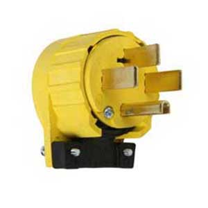 Pass & Seymour 5745-AN Specification Grade Grounding Power Outlet Miscellaneous Configurations Angle Plug; 50 Amp, 125/250 Volt, 3-Pole, 4-Wire, NEMA 14-50P, Yellow