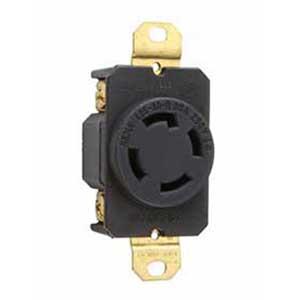 On-Q L1530-R Turnlok® Specification Grade Locking Single Receptacle; Flush Mount, 250 Volt AC, 30 Amp, 2-Pole, 3-Wire, NEMA L15-30R/L14-20P, Black