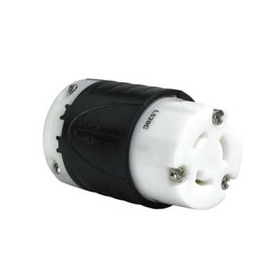 Pass & Seymour L520-C Turnlok® Polarized Locking Connector; 20 Amp, 125 Volt AC, 2-Pole, 3-Wire, NEMA L520R, Black/White