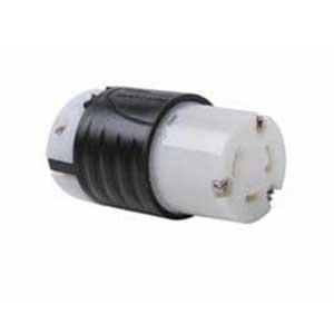 Pass & Seymour L530-C Turnlok® Grounding Locking Connector; 30 Amp, 125 Volt AC, 2-Pole, 3-Wire, NEMA L530C, Black/White
