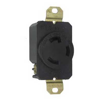 Pass & Seymour L530-R Turnlok® Specification Grade Locking Single Receptacle; Flush Mount, 125 Volt AC, 30 Amp, 2-Pole, 3-Wire, NEMA L5-30R, Black