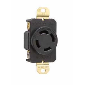 Pass & Seymour L1430-R Turnlok® Specification Grade Locking Single Receptacle; Flush Mount, 125/250 Volt AC, 30 Amp, 2-Pole, 3-Wire, NEMA L14-30R, Black/White