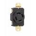 Pass & Seymour L1430-R Turnlok® Specification Grade Locking Single Receptacle; Flush Mount, 125/250 Volt AC, 30 Amp, 2-Pole, 3-Wire, NEMA L14-30R, Black/White