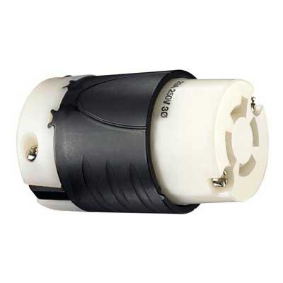 Pass & Seymour L1520-C Turnlok® Grounding Locking Connector; 20 Amp, 125/250 Volt AC, 2-Pole, 4-Wire, NEMA L1520, Black/White