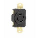 Pass & Seymour L1520-R Turnlok® Specification Grade Locking Single Receptacle; Flush Mount, 250 Volt AC, 20 Amp, 2-Pole, 3-Wire, NEMA L15-20R, Black