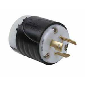 Pass & Seymour L620-P Turnlok® Polarized Grounding Specification Grade Locking Plug; 20 Amp, 250 Volt AC, 2-Pole, 3-Wire, NEMA L6-20P, Black/White