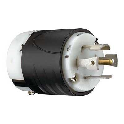 Pass & Seymour L2130-P Turnlok® Polarized Grounding Locking Plug; 30 Amp, 120/208 Volt AC, 3-Pole, 5-Wire, NEMA L21-30P, Black/White