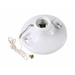 Pass & Seymour 280-WH Pull Chain Incandescent Lampholder; 250 Volt AC, 250 Watt, Medium Base, Box Mount, White