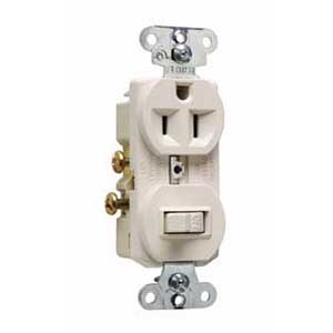 Pass & Seymour 691-LA Combination Switch with Receptacle; 120/125 Volt, 15 Amp, 1-Pole, Grounding, Light Almond