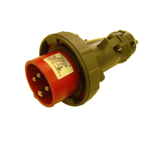 Pass & Seymour PS420P7-W Watertight Plug; 20 Amp, 480 Volt AC, 3-Pole, 4-Wire, 3 Phase, Red