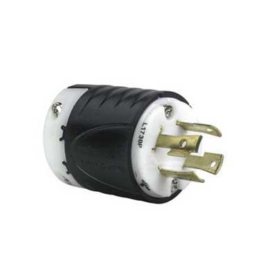 Pass & Seymour L1730-P Turnlok® Locking Plug; 30 Amp, 600 Volt AC, 3-Pole, 4-Wire, NEMA L17-30P, Black/White