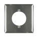 Pass & Seymour SS702 Standard Size 2-Gang Single Receptacle Plate; Wall Mount, 302 Stainless Steel