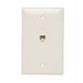 On-Q TPTE1-LA Standard Size Mar-Resistant 1-Gang Communication Wallplate; Flush Mount, Thermoplastic, Light Almond