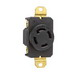 Pass & Seymour L1830-R Locking Single Receptacle; 120/280 Volt AC, 30 Amp, 4-Pole, 4-Wire, NEMA L18-30R, Black/White
