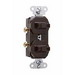 Pass & Seymour 690-G Double Combination Switch; 120/277 Volt AC, 15 Amp, 1-Pole, Grounding, Brown