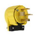 Pass & Seymour 5761-AN Specification Grade Grounding Miscellaneous Configurations Angled Plug; 60 Amp, 250 Volt, 3-Pole, 4-Wire, NEMA 15-60P, Yellow