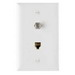 On-Q TPTELTV-W Type F 1-Gang Combination Communication Wallplate; Flush Mount, Thermoplastic Face, White
