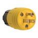 Pass & Seymour 14W-47 Watertight Plug; 15 Amp, 125 Volt, 2-Pole, 3-Wire, NEMA 5-15P, Yellow