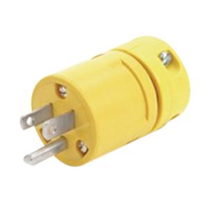 Woodhead / Molex 1447 Super-Safeway® Polarized Straight Blade Plug; 15 Amp, 125 Volt, 2-Pole, 3-Wire, NEMA 5-15, Yellow